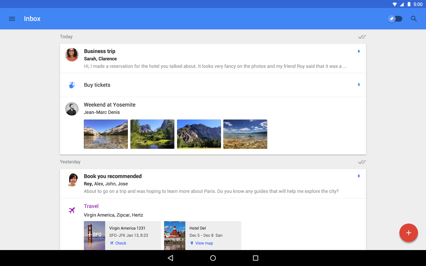 Inbox support for Android Wear